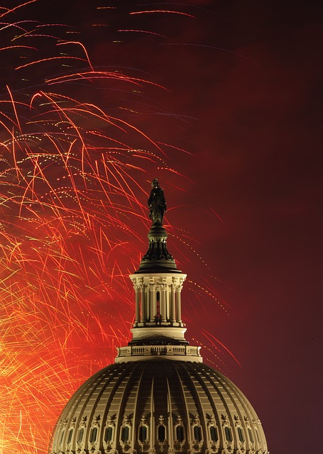 July 4th fireworks over US Capitol building