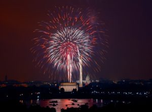 fireworks over the US Capitol in Washington DC