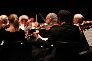 symphony performing at a concert venue